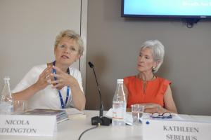 Nicola Bedlington and Kathleen Sebelius